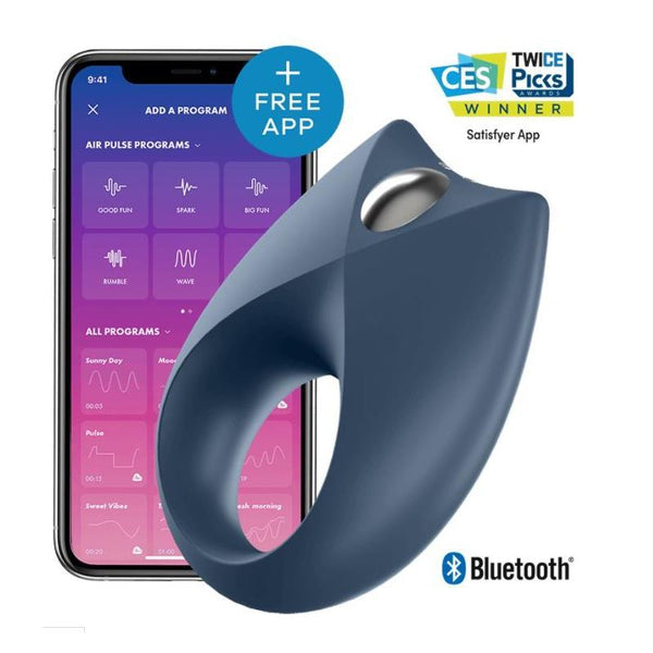 SATISFYER ROYAL ONE ANILLO VIBRADOR CON APP AZUL - Chocolate-Love-sexshop
