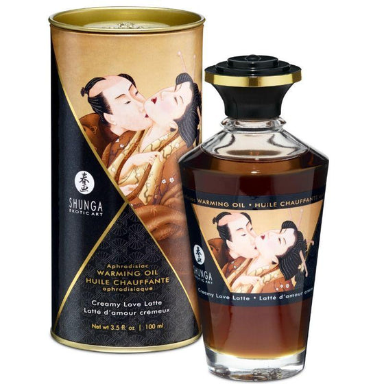 SHUNGA ACEITE MASAJE EFECTO CALOR SABOR CREAMY LOVE LATTE 100 ML - Chocolate-Love-sexshop
