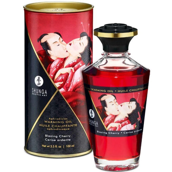 SHUNGA ACEITE MASAJE EFECTO CALOR SABOR INTENSO CEREZA 100 ML - Chocolate-Love-sexshop
