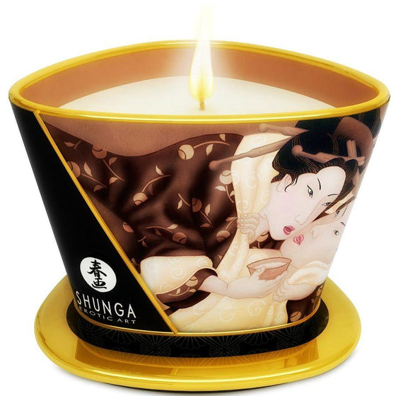 SHUNGA MINI CARESS BY CANDELIGHT VELA MASAJE CHOCOLATE 170ML - Chocolate-Love-sexshop
