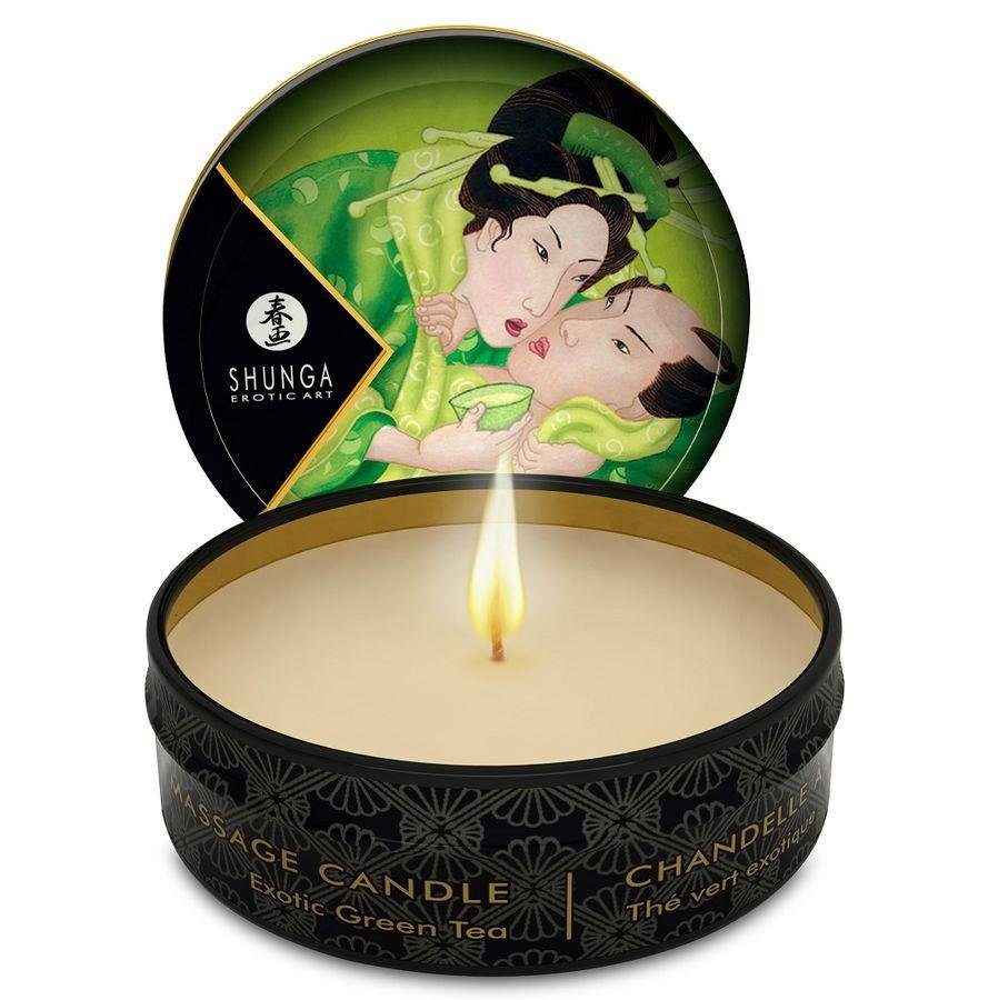 SHUNGA MINI CARESS BY CANDELIGHT VELA MASAJE TÉ VERDE 30ML - Chocolate-Love-sexshop