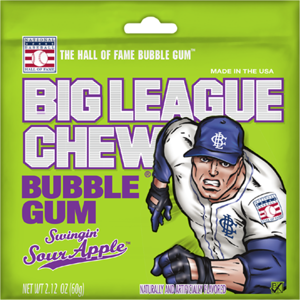 Big league chew swigging sour apple bubble gum