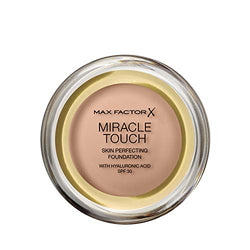 Max Factor Miracle Touch Perfecting Foundation, 45 Warm Almond, Full Coverage and Moisturising Effect with Hyaluronic Acid and SPF 30 Formula, 11.5 g
