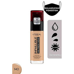 L'Oreal Paris Infallible 24hr Freshwear Liquid Foundation 140 Golden Beige, Hydrating, Weightless Feel, Transfer-Proof and Waterproof, Full Coverage Base, Available in 26 Shades, SPF 25