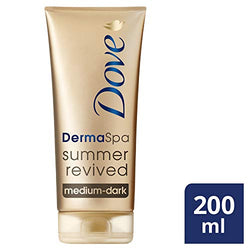 Dove DermaSpa Summer Revived Skin Medium To Dark Body And Face Gradual Fake Tan For Men And Women, Holiday Essentials 200ml