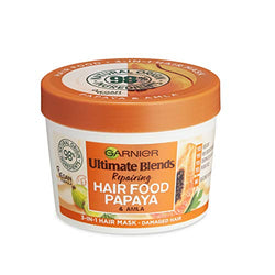 Garnier Hair Mask for Damaged Hair | Papaya Hair Food by Garnier Ultimate Blends, 3-in-1: Conditioner, Hair Mask, Leave-in Hair Conditioner | 98 Percent Natural Origin | 390 ml