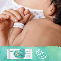 Pampers Baby Wipes Aqua Pure Water Wipes for Newborn Skin, 840 Wipes, 12 Packs of 70 Wipes