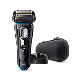 Braun Series 9 Electric Shaver for Men 9242s Wet and Dry Integrated Precision Trimmer Rechargeable and Cordless Razor with Charging Stand and Travel Case Black/Eloxal Blue, 2 pin plug