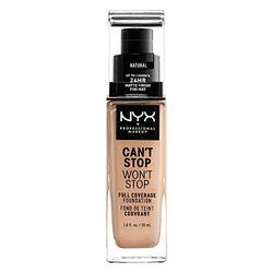 NYX Professional Makeup Can't Stop Won't Stop Full Coverage Foundation, Long Lasting, Waterproof, Vegan Formula, Matte Finish, Shade: Natural