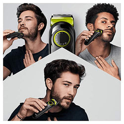 Braun Beard Trimmer BT3221 and Hair Clipper for Men, Lifetime Sharp Blades, 20 Length Settings, Black/Volt Green, UK Two Pin Plug