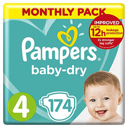 Pampers Baby-Dry, 174 Nappies, 9-14 kg, Monthly Saving Pack, Air Channels for Breathable Dryness Overnight, Size 4