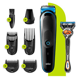 Braun 7-in-1 All-in-one Trimmer 3 MGK3245, Beard Trimmer for Men, Hair Clipper and Face Trimmer with Lifetime Sharp Blades and 5 Attachments, Black/Blue, UK Two Pin Plug