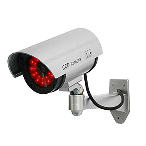 Look Dummy Security CCTV Bullet Camera with LED Light Indication, Silver