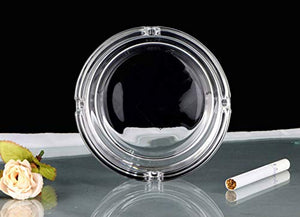 Glass Imported Crystal Clear Round Ashtray Set (Transparent)