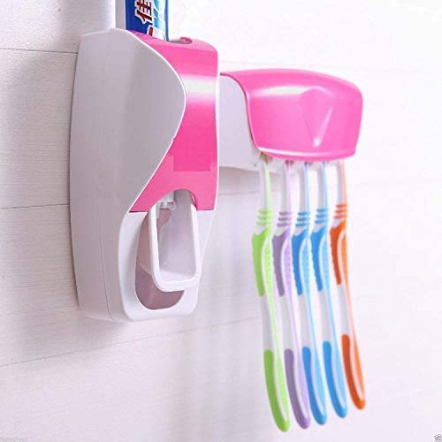 Toothpaste Dispenser and 5 Hole Dust-Proof Wall Mounted Toothbrush Holder with Cover Storage Stand for Home Bathroom
