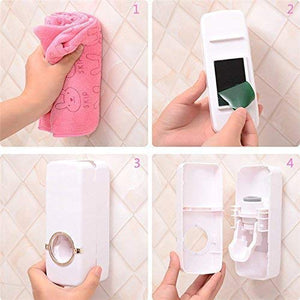 Plastic Toothpaste Dispenser Automatic with 5 Toothbrush Holder with Sticky Suction Pad