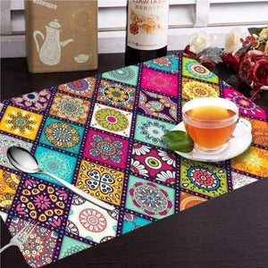 Coffee Dining-Table Place Mats,Printed Table Mats/Placemats/Plastic Table Mats/Fridge Mats Set of 6 Pcs  (Multipurpose Mats)
