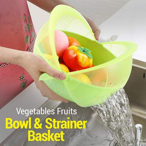 Plastic Vegetable Fruit Rinse Bowl & Strainer Cum Basket (Assorted Colors)