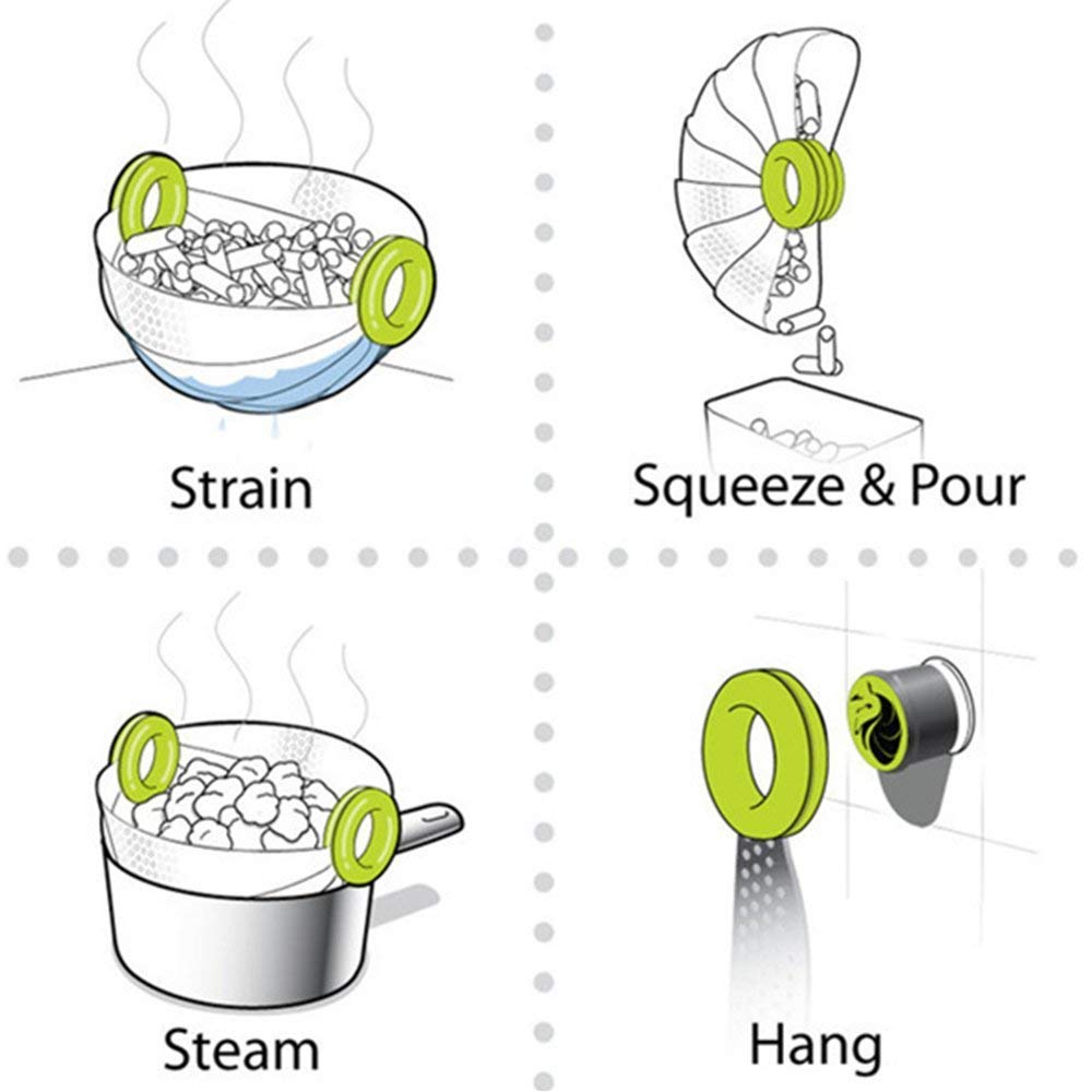 Foldable Kitchen Colander Drain Basket, Rice Pulses Fruits Vegetable Rice Washing Bowl