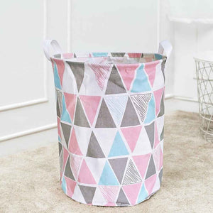 Laundry Basket Jute Bag with Handle Linen Printed