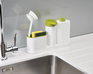3 Piece Sink Tidy Set With Refillable Soap Pump and Liquid Bottle Plastic Kitchen Rack