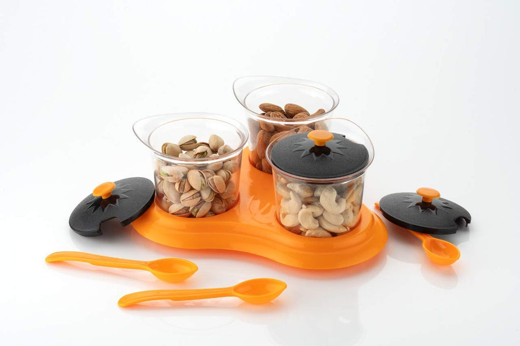 Spice/Pickle (Achar) / Storage Containers with Black Lids and Spoon - Multipurpose Dining Set (3 Jars with lid, 3 Spoons, 1 Tray)