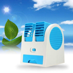 Mini USB Fragrance Air Cooling Fan Portable Desktop Dual Blower Bladeless Air Cooler