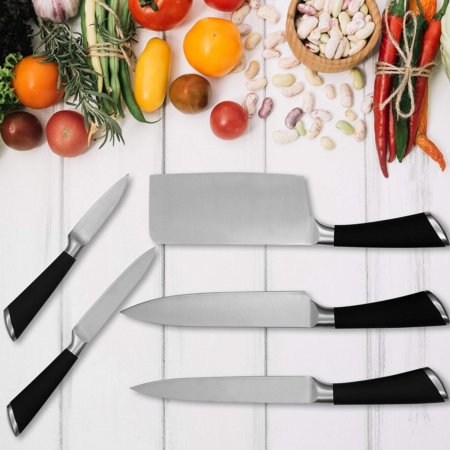 Stainless Steel Kitchen Knife Set with Rotating Stand  Professional Kitchen Knife Set Rotating Holder