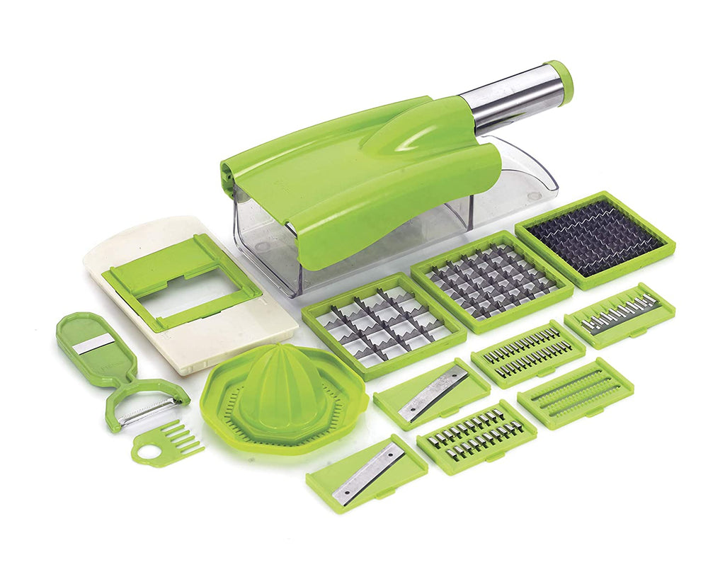 Stainless Steel 12 in 1 Chipser Slicer, Green and White