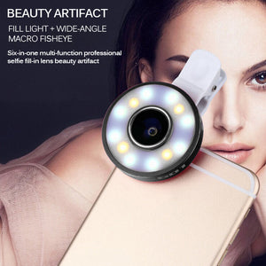 Smart Selfie 6 in 1 Multi LED Lens - Fish Eye,Macro and Wide Angle Lens Beauty Mobile Phone Lens