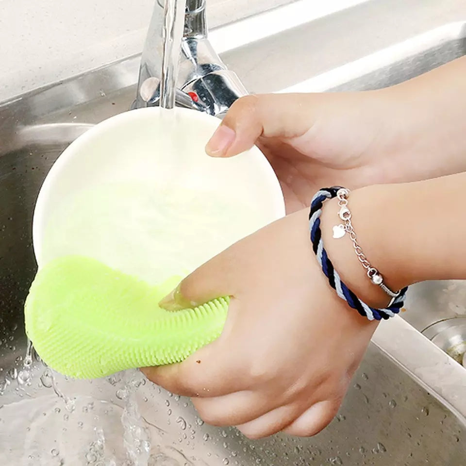 Silicone Washing Sponge Antibacterial Silicone Dish Scrubber Fruit and Vegetable Washing Brush Round Scrubber Pad