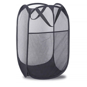 Pop-up Laundry Hamper Strong Mesh Bag with Portable Handles Side Pocket Foldable Laundry Net Basket for Home