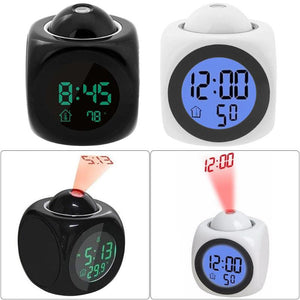 LED Digital Projection Alarm Clock Temperature Humidity Voice Clock Time Date LCD Display Projector