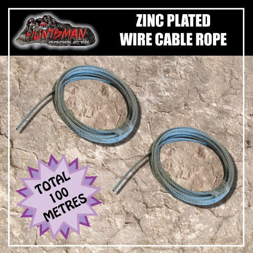100 Metres Zinc Plated 7x7 steel 4mm Wire Cable Rope