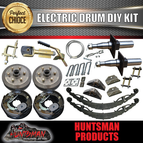 1400KG DIY Off Road Trailer Kit. Outback Springs, Electric Brakes. Stub Axles