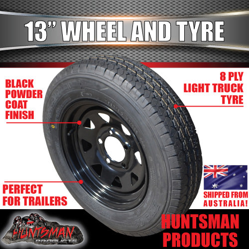 "13"" HT BLACK STEEL RIM & 155R13C. 155 13"