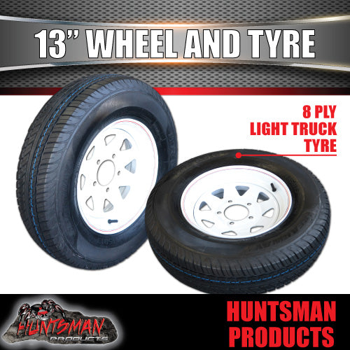 "13"" HT WHITE STEEL RIM & 165R13C. 165 13"