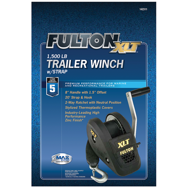 Fulton 142311 1500Lb Single Speed Winch 20' Strap Included Black Cover