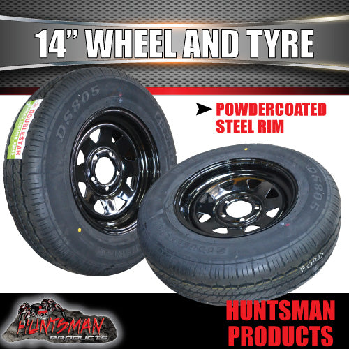 "14"" BLACK STEEL WHEEL & 185R14C TYRE: HQ HOLDEN PATTERN. 185 14"