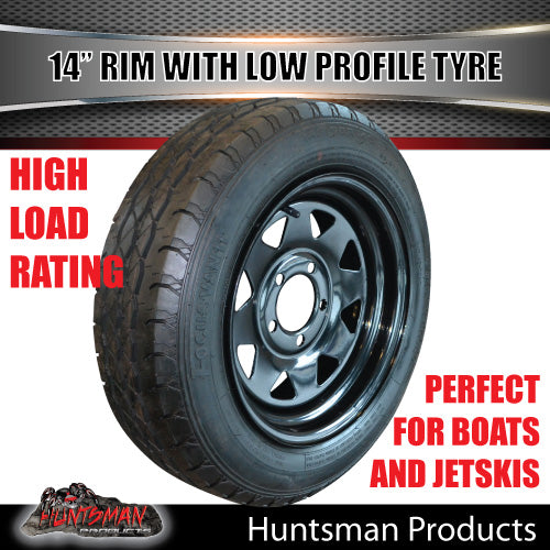 14x6 Sunraysia Black & 175/65R14 LT Low Profile Tyre: suits Ford pattern. 175 65 14