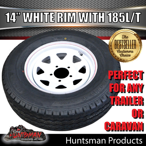 "14"" WHITE STEEL WHEEL & 185R14C: HT HOLDEN."