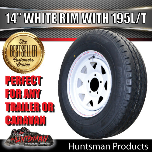 "14"" HQ WHITE STEEL RIM & 195R14C. 195 14"