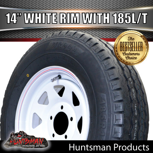 "14"" WHITE STEEL WHEEL & 185R14C: SUITS FORD PATTERN"