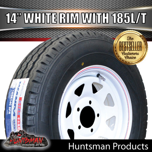 "14"" WHITE STEEL WHEEL & 185R14C: SUITS FORD PATTERN. 185 14"