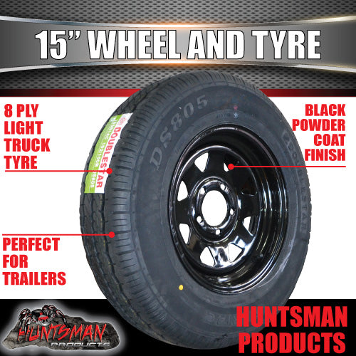 "15"" FORD PATTERN BLACK STEEL RIM & 195R15C TYRE. 195 15"