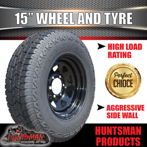 235/75R15L/T 10 PLY TYRE ON 15x7 6 STUD BLACK TRAILER STEEL WHEEL. 235 75 15