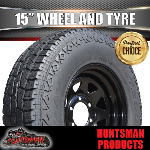 235/75R15L/T 10 PLY TYRE ON 15x7 6 STUD BLACK STEEL WHEEL. 235 75 15