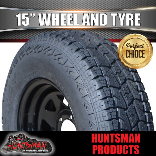 235/75R15L/T 10 PLY TYRE ON 15x7 6 STUD BLACK STEEL WHEEL