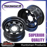 16x8 6 Stud Black Thunder Steel Rim. 6/139.7PCD 0 Offset