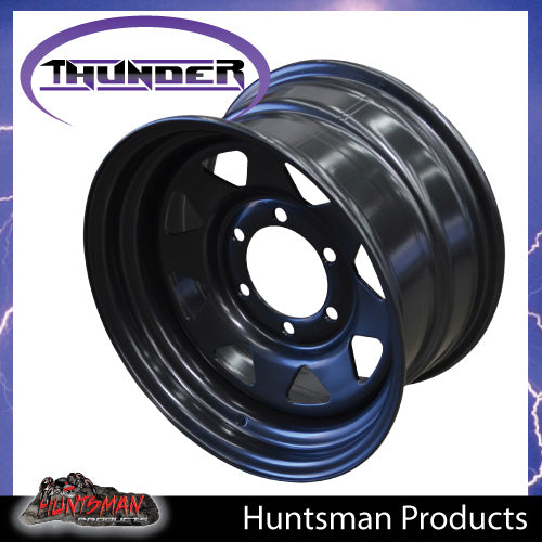 15x7 6 Stud Black Thunder Steel Rim. +10 Offset. 6/139.7